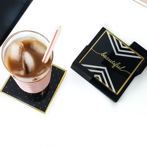 Black & Gold Glass Coasters + Coaster Stand 4PC